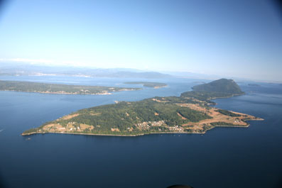 aerial photo of Lummi Island