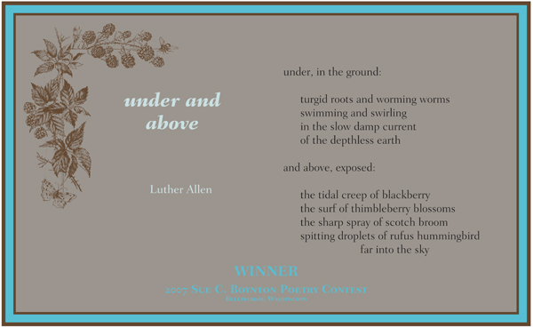 Luther Allen ~ Under and Above ~ 2007 Sue Boynton Contest Walk Award