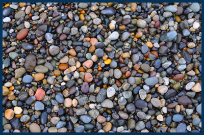 beach pebbles on Lummi Island